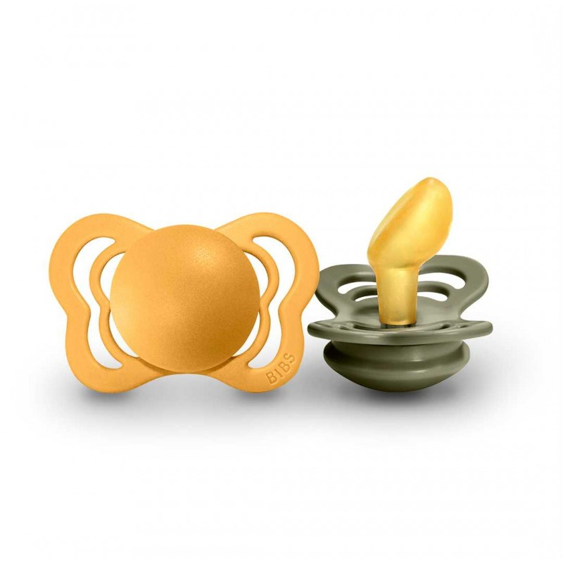"BIBS 0-6 mėn. čiulptukai ""Couture"", 2 vnt. (Honey Bee/Olive)"