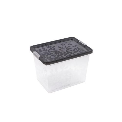 BRANQ 22L plastikinė dėžė su dangčiu Jasmine (juoda)