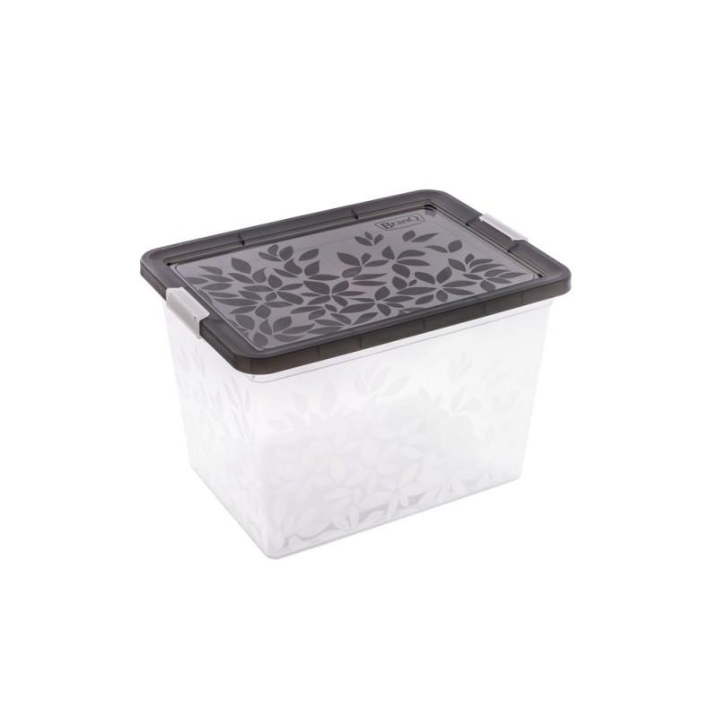 BRANQ 33L plastikinė dėžė su dangčiu Jasmine (juoda)