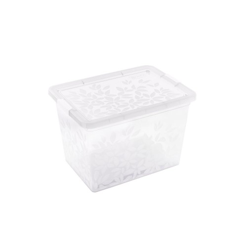 BRANQ 33L plastikinė dėžė su dangčiu Jasmine (skaidri)