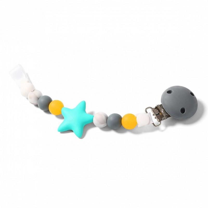 """BABYONO silikoninins čiulptuko laikiklis """"Mėtinė žvaigždutė"""""""