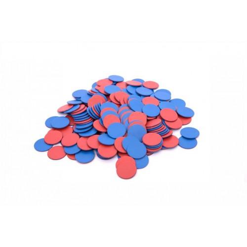 EDX plastikiniai diskeliai, 200 vnt. (raudona/mėlyna)