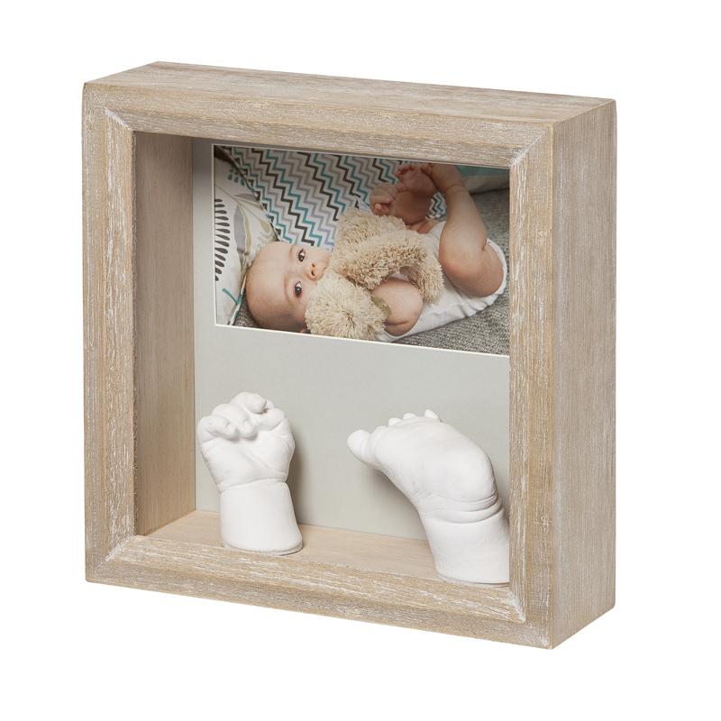 BABY ART medinis nuotraukos rėmelis su kūdikio 3D kojyte ir rankyte