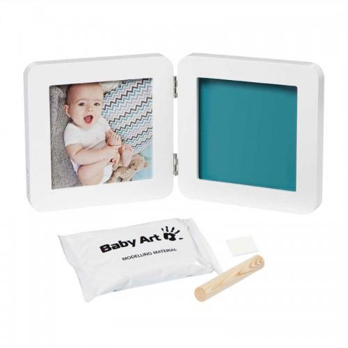 BABY ART dvigubas kvadratinis nuotraukos rėmelis su įspaudu (balta/pilka)