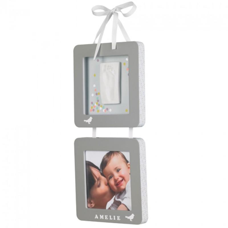 BABY ART dvigubas pakabinamas kvadratinis nuotraukos rėmelis su įspaudu (pilkas)