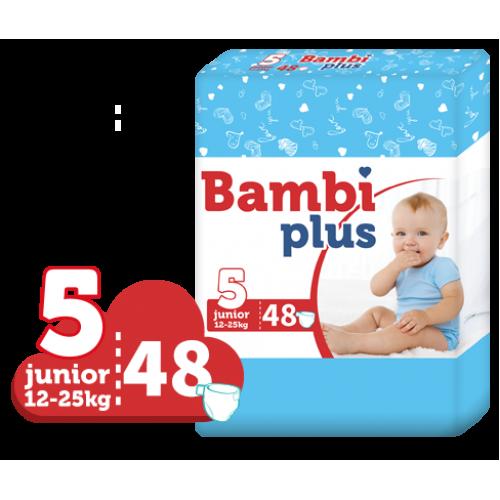 BAMBI PLUS sauskelnės JUNIOR 12-25 kg. 48 vnt.