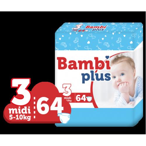 BAMBI PLUS sauskelnės MIDI 5-10 kg. 64 vnt.