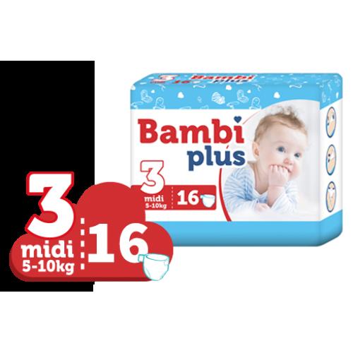 BAMBI PLUS sauskelnės MIDI 5-10 kg. 16 vnt.