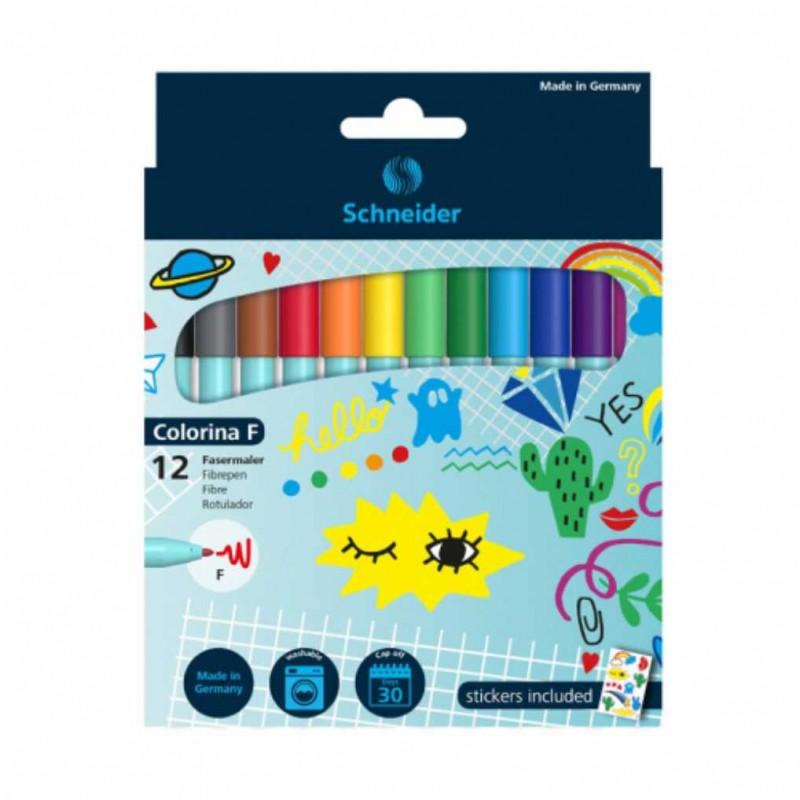 SCHNEIDER flomasteriai Colorina F, 12 spalvų