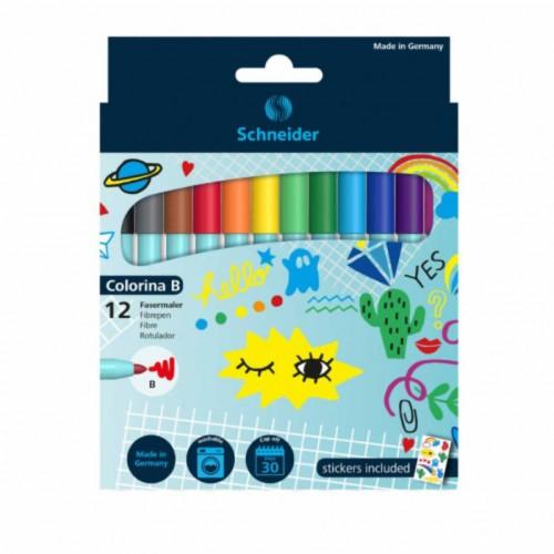 SCHNEIDER flomasteriai Colorina B, 12 spalvų