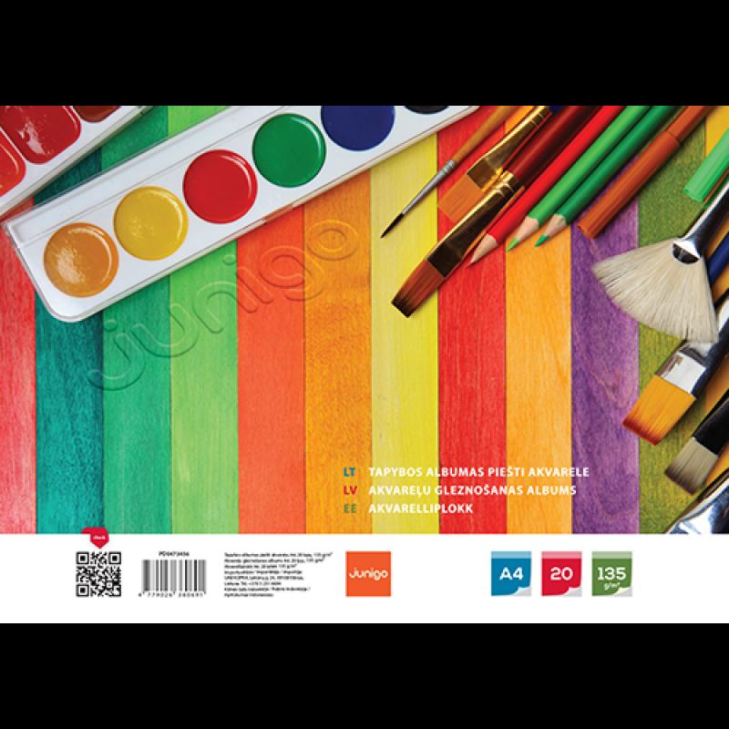 JUNIGO tapybos albumas piešti akvarele, 20 lapų