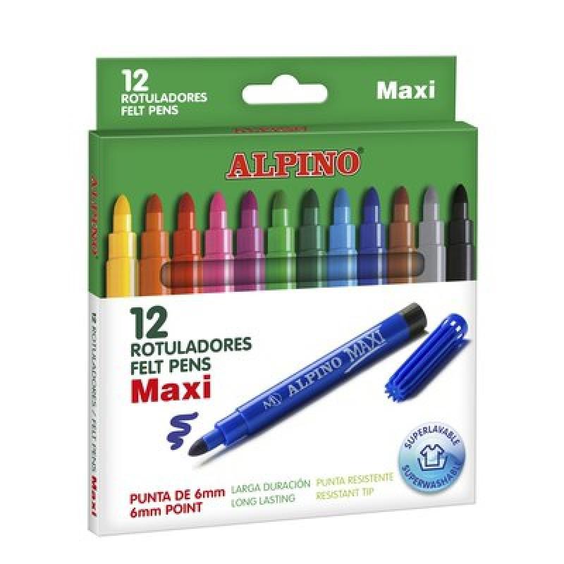 """ALPINO flomasteriai """"Maxi"""", 12 spalvų"""