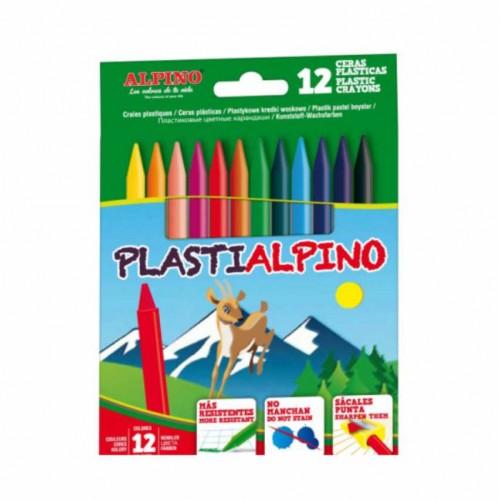 ALPINO vaškinės kreidelės, 12 spalvų
