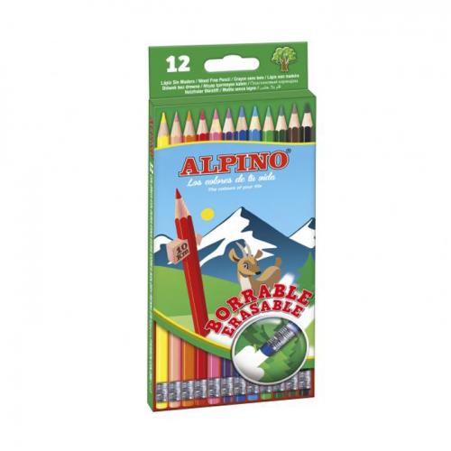ALPINO spalvoti pieštukai su trintuku, 12 spalvų