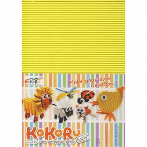 KOKORU spalvotas gofruotas kartonas A4, 8 lp., 275 gr.