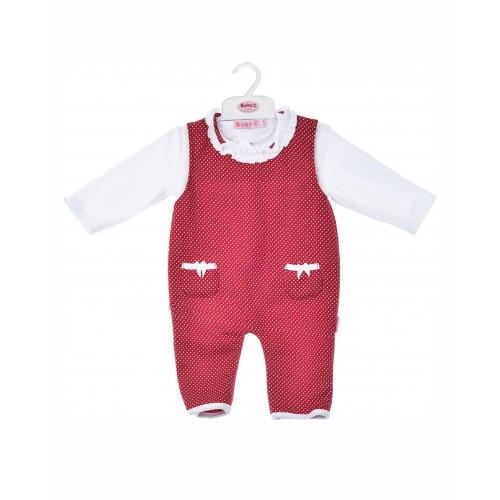 BABY C 0-9 mėn. dviejų dalių rinkinys (marškinėliai ir raudonas romperis)