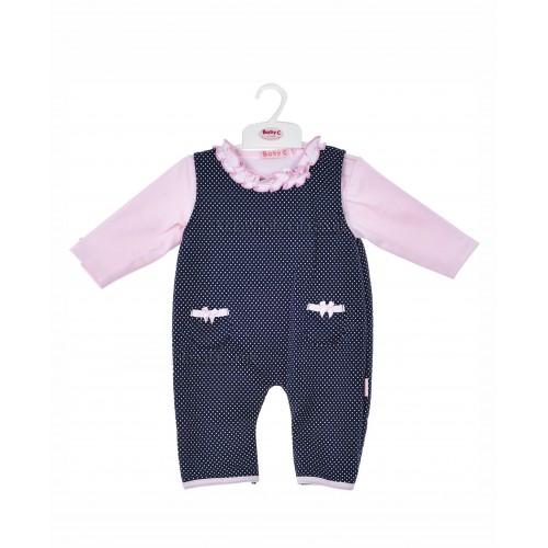 BABY C 0-9 mėn. dviejų dalių rinkinys (marškinėliai ir mėlynas romperis)