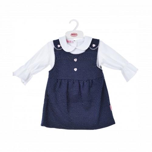 BABY C 0-9 mėn. dviejų dalių rinkinys (marškinėliai ir mėlyna suknelė)