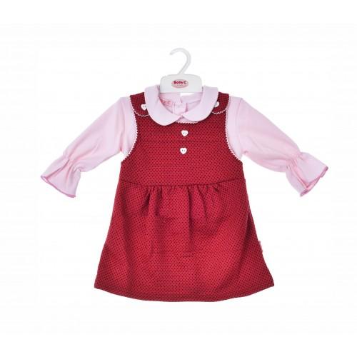 BABY C 0-9 mėn. dviejų dalių rinkinys (marškinėliai ir raudona suknelė)