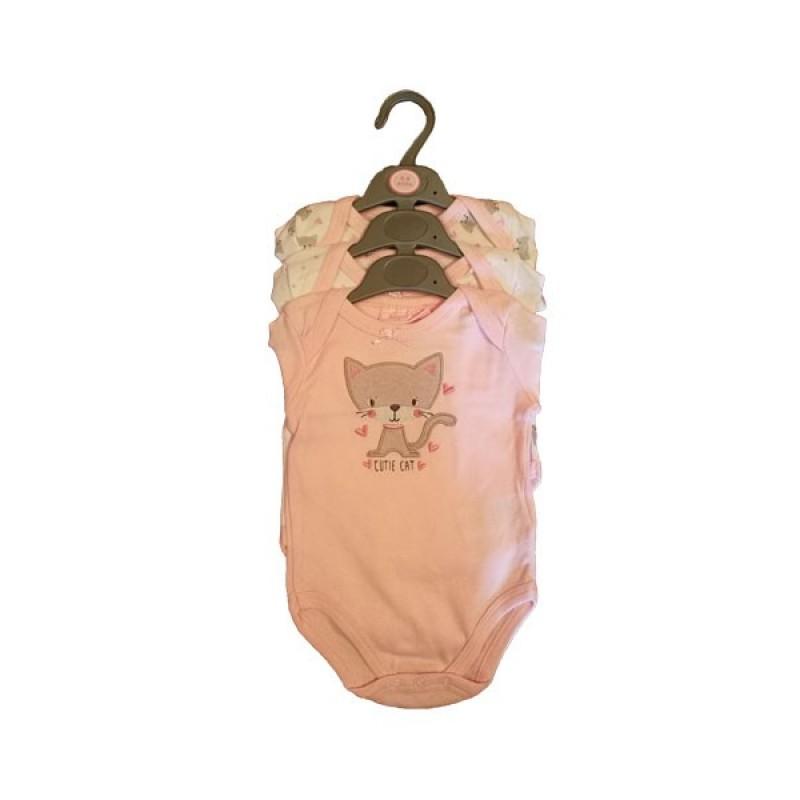 """BONJOUR BEBE 3-9 mėn. smėlinukų ilgomis rankovėmis rinkinys mergaitei """"Cat"""" 3 vnt."""