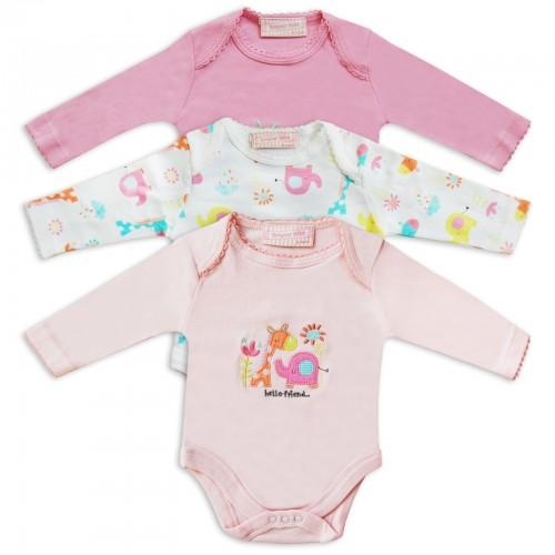 BONJOUR BEBE 0-6 mėn. smėlinukai ilgomis rankovėmis mergaitei 3 vnt.