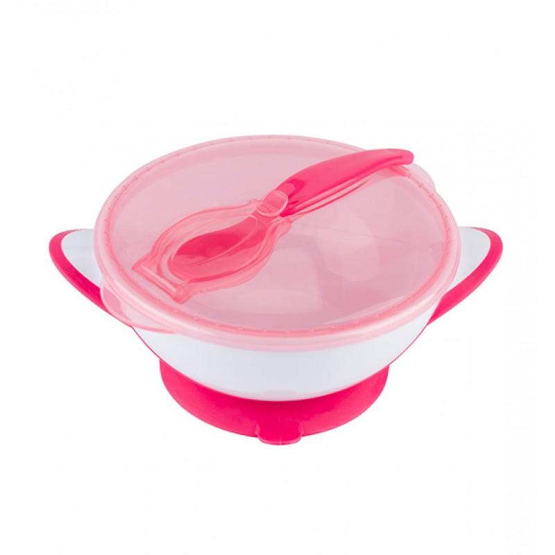 BABYONO lėkštė limpančiu dugnu su šaukšteliu 6+ mėn. (rožinė)