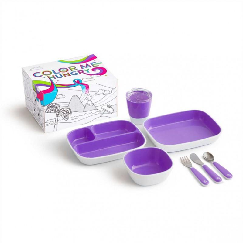 """MUNCHKIN indų rinkinys """"Colour Me Hungry Dinning Set"""" (violetinis)"""