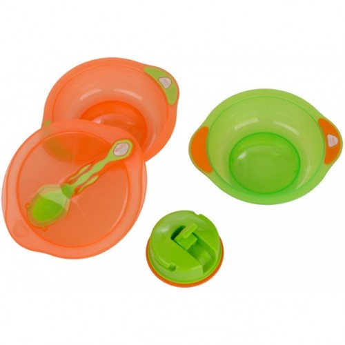 VITAL BABY kelioninis dubenėlis (2 vnt.) su siurbtuku, dangčiu ir šaukšteliu (oranžinis/žalias)