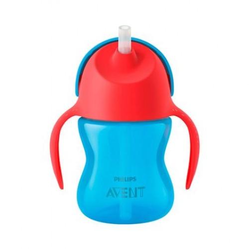 AVENT 9+ mėn. puodelis su šiaudeliu 200 ml. (mėlynas)