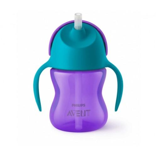 AVENT 9+ mėn. puodelis su šiaudeliu 200 ml. (violetinis)