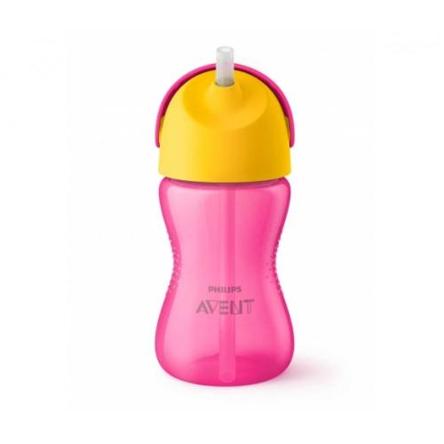 AVENT 12+ mėn. puodelis su šiaudeliu 300 ml. (rožinis)