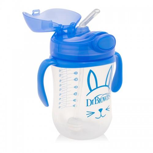 """DR. BROWN`S 270 ml """"Baby Weighted"""" puodelis - gertuvė su šiaudeliu """"Blue"""""""