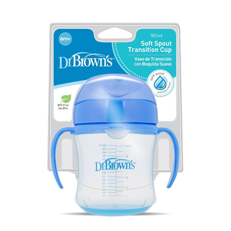 """DR. BROWN'S 180 ml mokomoji gertuvė su rankenėlėmis """"Blue"""", 6+ mėn."""