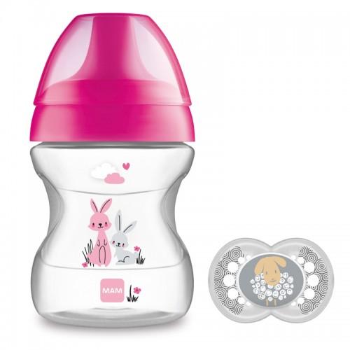 "MAM 190 ml ""Learn to drink"" puodelis - gertuvė + čiulptukas ""Pink"""