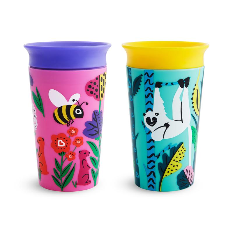 """MUNCHKIN """"Miracle Sippy"""" 266 ml. neišsiliejantis puodelis-gertuvė """"Eco"""" (bitė/lemūras)"""