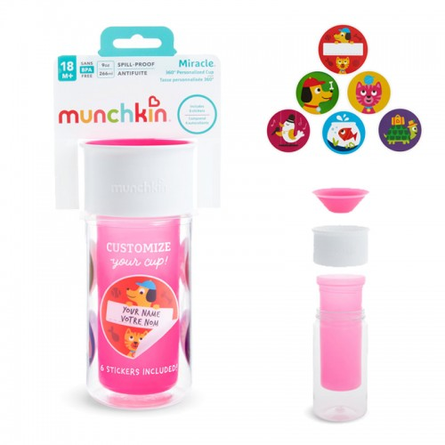 """MUNCHKIN gertuvė-puodelis """"My Miracle 360"""", 18+ mėn. (rožinė)"""