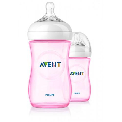 "AVENT 260 ml. ""Natural"" buteliukas 1 vnt. ""Pink"""