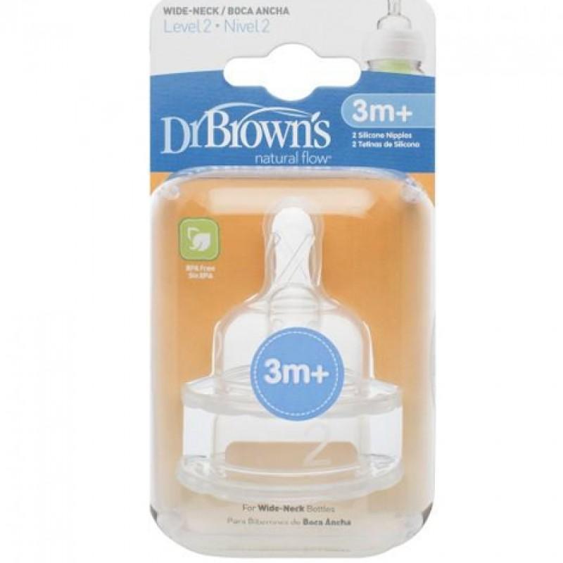 DR. BROWN`S OPTIONS LEVEL 2 plataus kaklelio silikoninis žindukas 1 vnt.