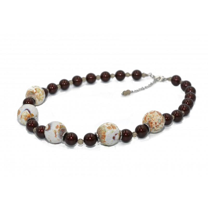 PERLUONA kaklo papuošalas su Swarovski perlais ir agatu