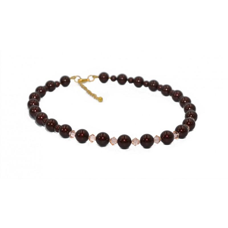 PERLUONA kaklo papuošalas su Swarovski perlais ir kristalais