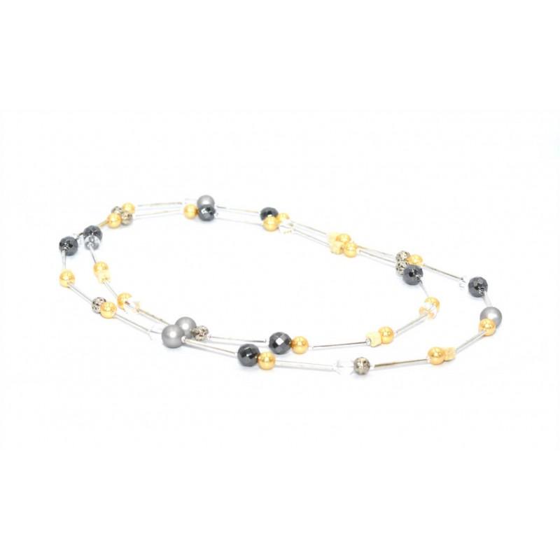 PERLUONA ilgas kaklo papuošalas su perlais ir kalnų krištolu