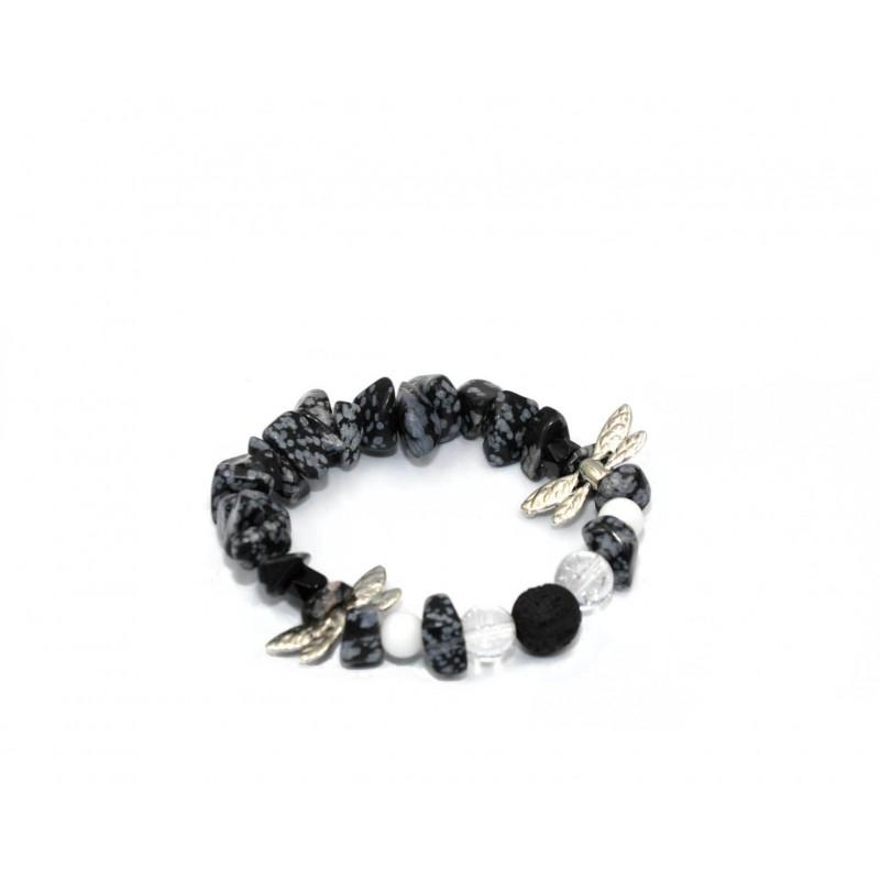 PERLUONA vaikiška apyrankė su snieginiu obsidianu ir onikso karoliukais
