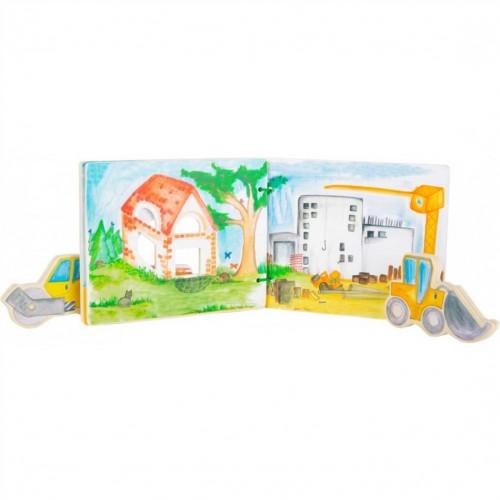 """SMALL FOOT interaktyvi medinė knygelė """"Construction Site"""""""