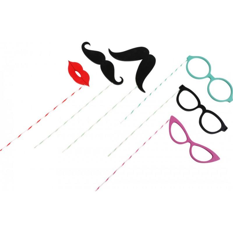 SMALL FOOT mediniai aksesuarai nuotraukoms (lūpos, ūsai, akiniai)
