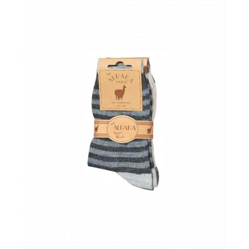 WOWERAT kojinės su alpakos vilna (pilka/šviesiai pilka), 1 pora