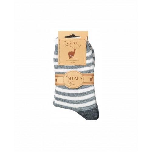 WOWERAT kojinės su alpakos vilna (pilka/balta), 1 pora