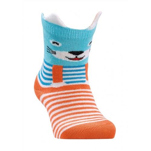 """WOWERAT plonos dryžuotos kojinės """"3D"""" (žydra/oranžinė)"""