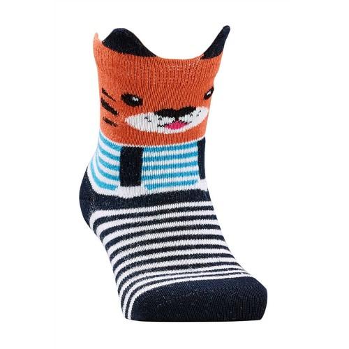 """WOWERAT plonos dryžuotos kojinės """"3D"""" (oranžinė/juoda)"""