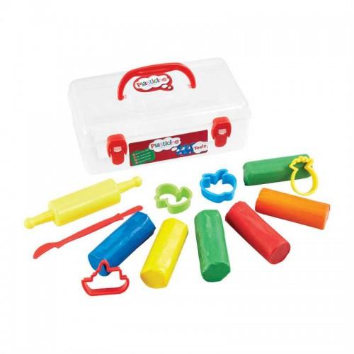 PLASTICINE plastilinas su įrankiais ir formelėmis (6 spalvos)