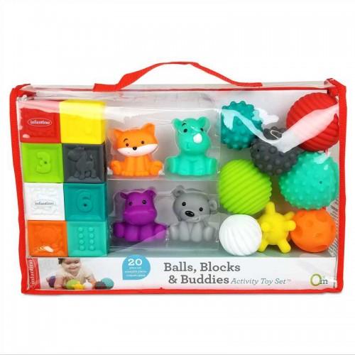 """INFANTINO lavinamųjų sensorinių žaislų rinkinys """"Balls, Blocks & Buddies"""", 20 vnt."""
